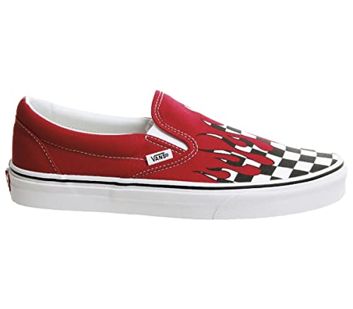 3a759f1f25 Vans - Sneakers - Classic Slip-ON Checker Flame Racing RED  Amazon ...