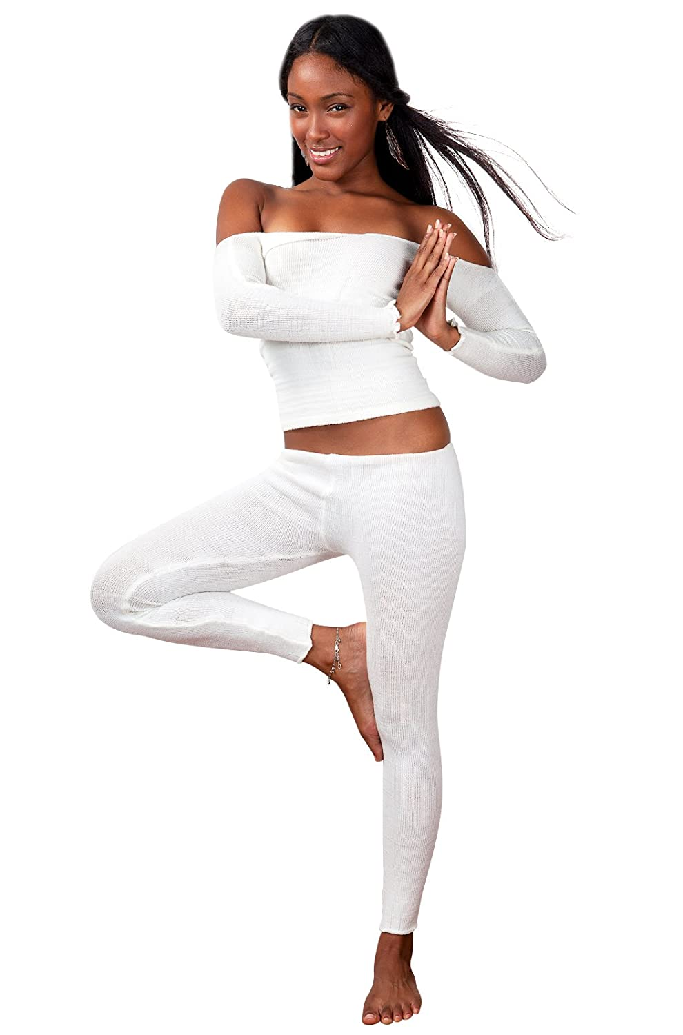 Yoga Tart Pure Color Sexy n Sweet Stretch Knit Bare Shoulder Top & Yoga Tights
