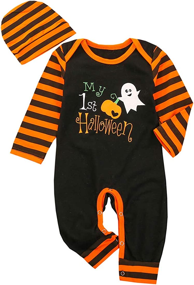 Amberetech My 1st Halloween Costume Baby Boys Girls One-Piece Sleeper Snap Pajamas Bodysuit with Hat 2pcs Clothes Set