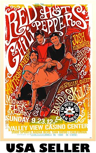 Red Hot Chili Peppers repro concert POSTER 23.5 x 34 brilliant orange yellow Flea Anthony Kiedis (sent FROM USA in PVC pipe) (All Around The World Red Hot Chili Peppers)