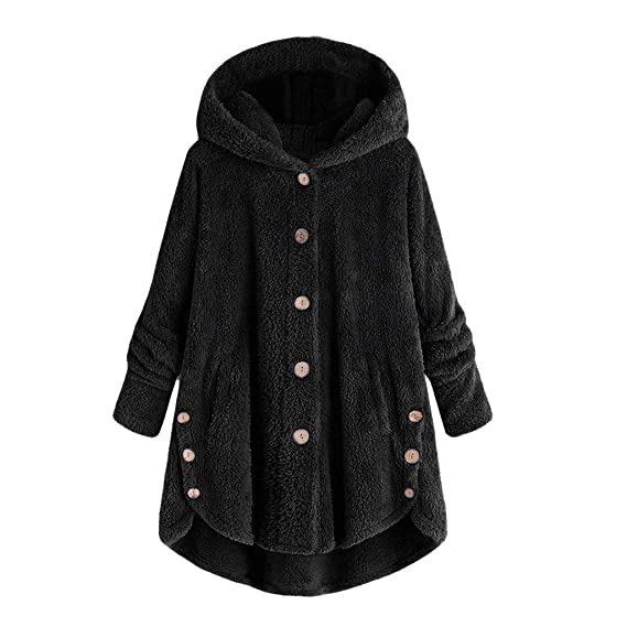 Amazon.com: Dressin Women Jacket Winter Plus Size Ladies Fashion Button Coat Fluffy Tail Tops Hooded Pullover Loose Sweater: Clothing