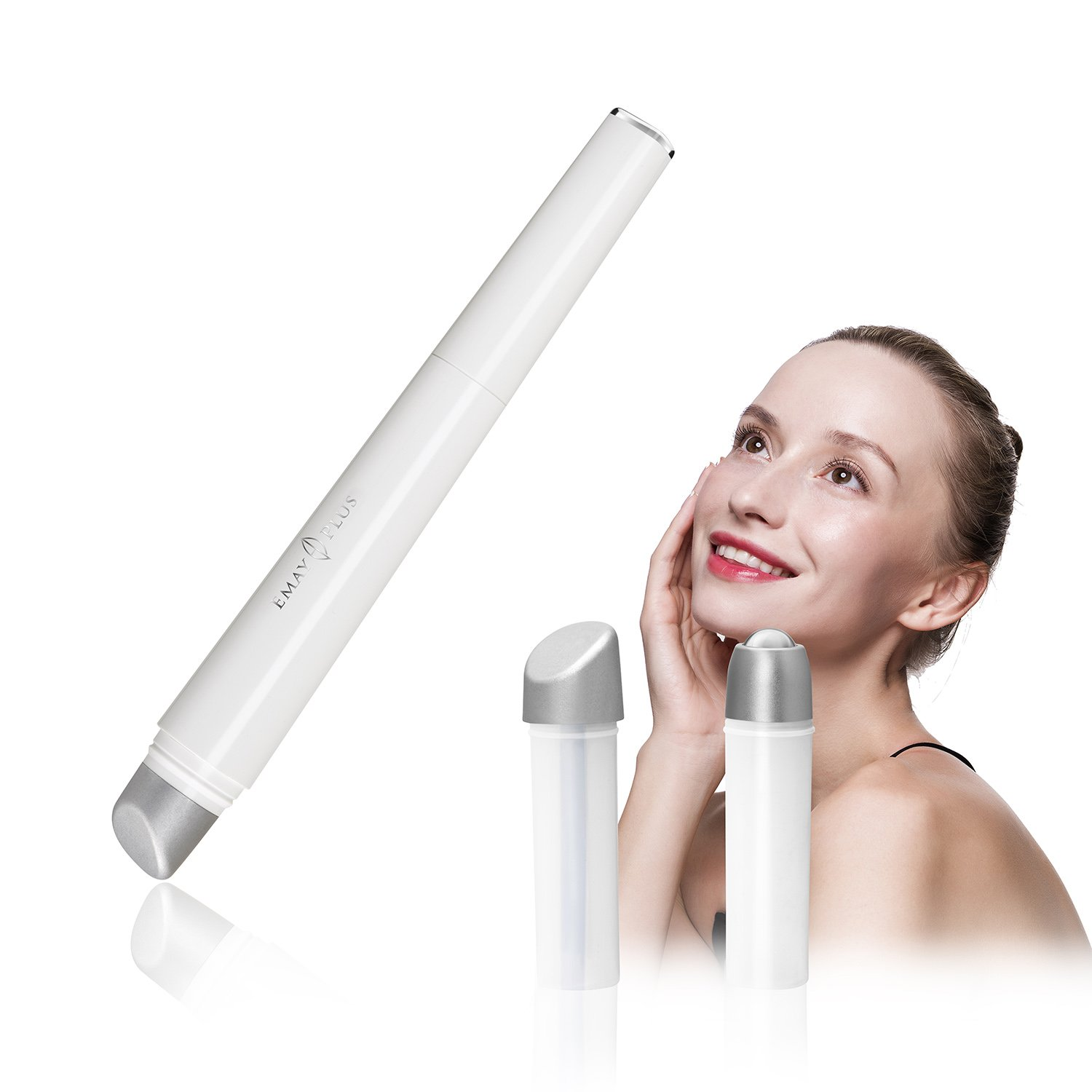 3-in-1 Eye and Facial Massager Wand.Cold compress,Heated Vibration and Roller Eye Massager Wand Anti-aging Device.