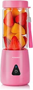 Portable Blender 2020 Upgrade, ASSENIO Smoothie Blender - 6 Blades Mini Travel Personal Blender with 2000mAh USB Rechargeable Batteries,Household Fruit Mixer, Detachable Juicer Cup 380ml - Pink