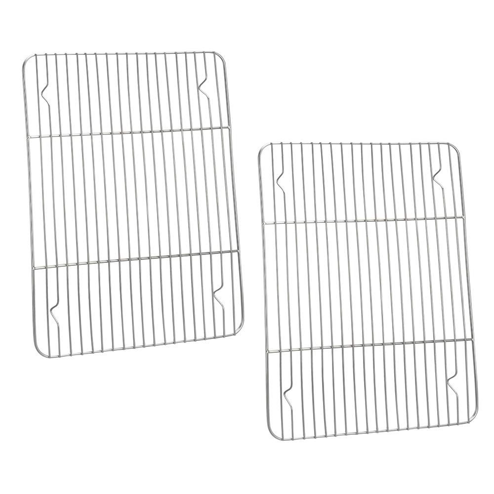 P&P CHEF Baking Rack & Cooling Rack Pack of 2, Stainless Steel Made for Cooking Baking Roasting Grilling Drying, Rectangle 11.6'' x 9'' x0.6'', Oven & Dishwasher Safe