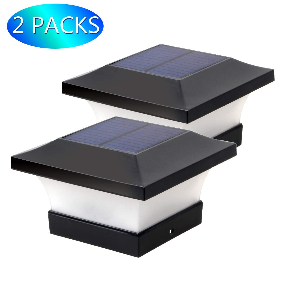 Solar Post Lights Outdoor, Waterproof LED Post Cap Lights for 4x4 Wooden Posts, Square Black Landscape Post Lamp for Deck, Patio, Fence (White Light 6000K) by Yuan Xi