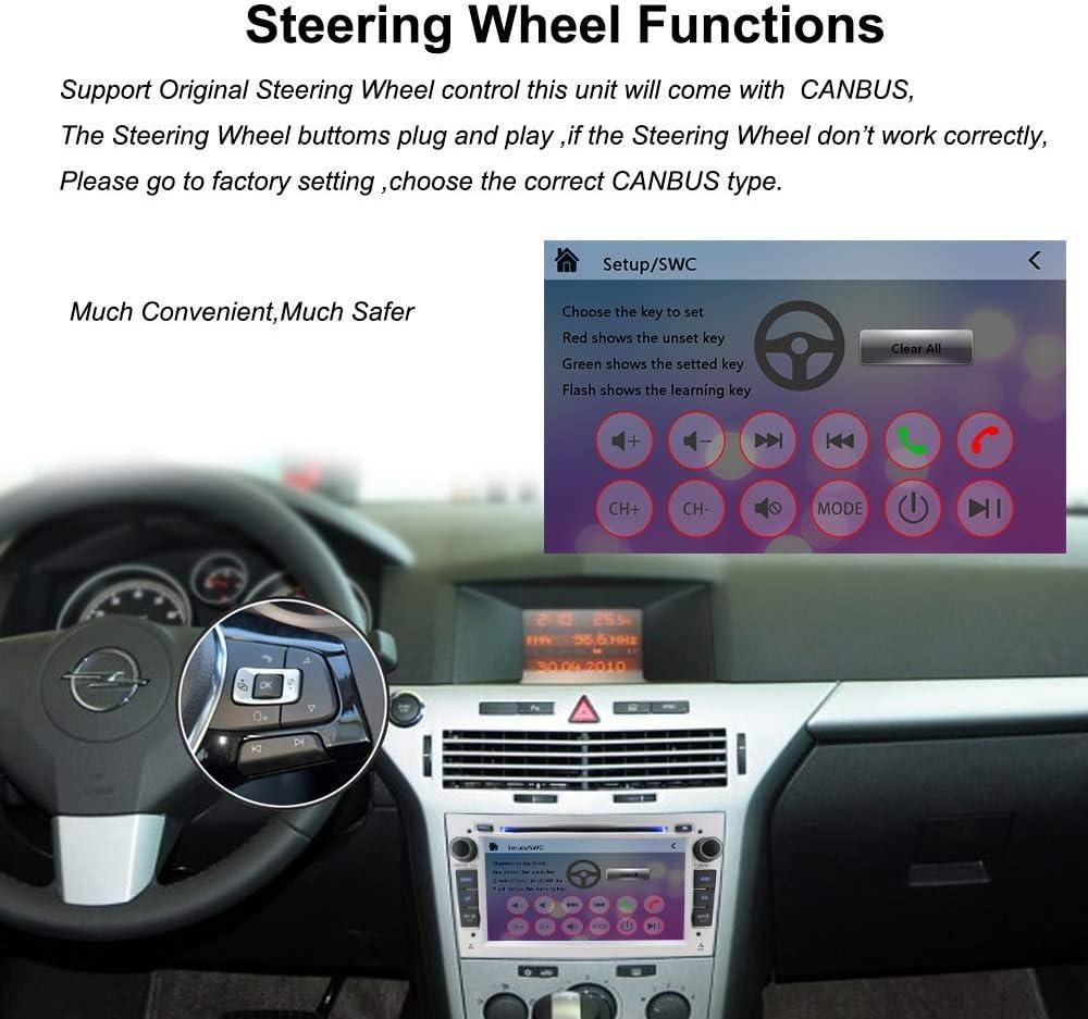 NVGOTEV 7 Pollici Autoradio 2 DIN per Opel Vauxhall Antara Astra Zafira Corsa Meriva Gratuiti 16G Carta mappa/& Canbus Supporta Mirror-link Bluetooth USB SD SWC FM AM RDS DAB+,Argento