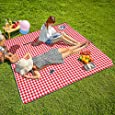 "CHANODUG Machine Washable Extra Large Picnic & Beach Blanket Handy Mat Plus Thick Dual Layers Sandproof Waterproof Padding Portable for The Family, Friends, Kids, 79""x79"" (Red and White)"