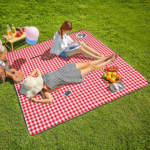CHANODUG Machine Washable Extra Large Picnic & Beach Blanket Handy Mat Plus Thick Dual Layers Sandproof Waterproof Padding Portable for The Family