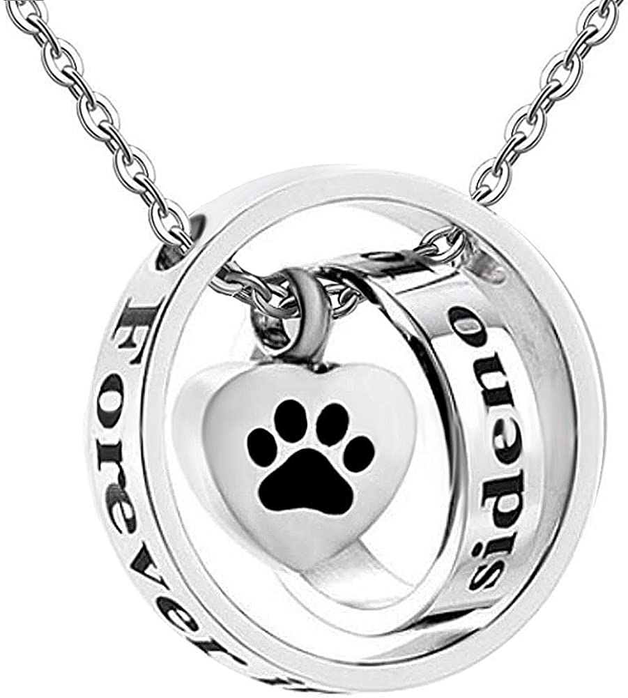 SexyMandala Urn Necklace for Ashes Heart Cremation Urn Jewelry Pet Paw Print Stainless Steel Keepsake Memorial