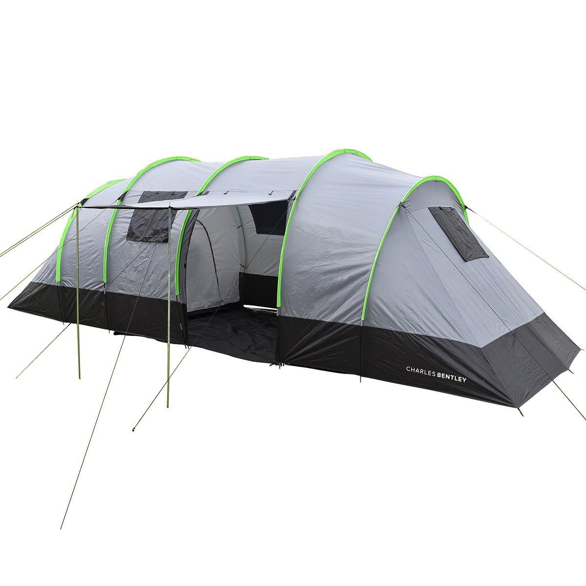 Charles Bentley 8 Personen Familie Camping Tunnel Zelt 2 Zimmer Markise L690 x W240 x H220cm - Grau