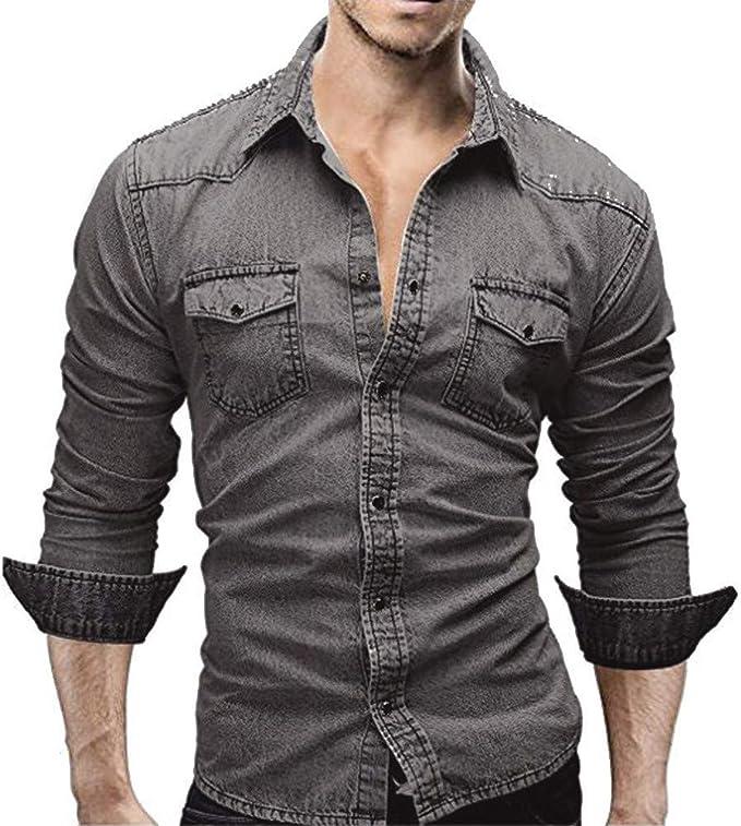 Reooly Camisa Vaquera, Top de Manga Larga Retro con Botones Slim Hombre: Amazon.es: Ropa y accesorios