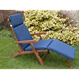 UK-Gardens Navy Blue Garden Furniture Steamer Chair Cushion - Removable cover - Double Piped - Indoor or Outdoor Use