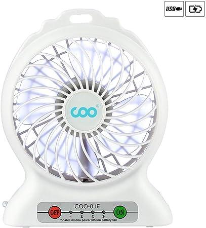 Mini Ventilateur de Table USB, Ventilateurs de Poche Silencieux avec Batterie et LED Light 3 Vitesses Fan Multifonction Poche Compatible pour