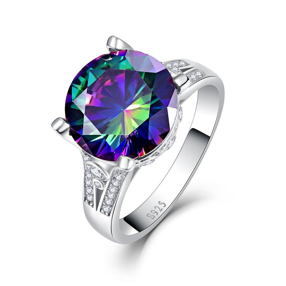 BONLAVIE 925 Sterling Silver Created Rainbow Topaz Promise Wedding Ring for Women Size 8