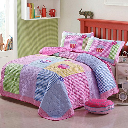 Childs Cake - Pink Quilt Set Cake Pattern Comforter Cotton Patchwork Floral Bedspreads For Girls Kids, Cotton Twin 2 Pieces