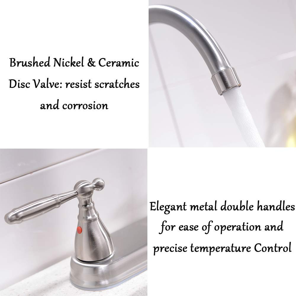 VCCUCINE Well Recommended High Arc Goose neck Two Lever Brushed Nickel Finished Kitchen Faucet, Stainless Steel Swivel Spout Kitchen Sink Faucets by VCCUCINE (Image #3)
