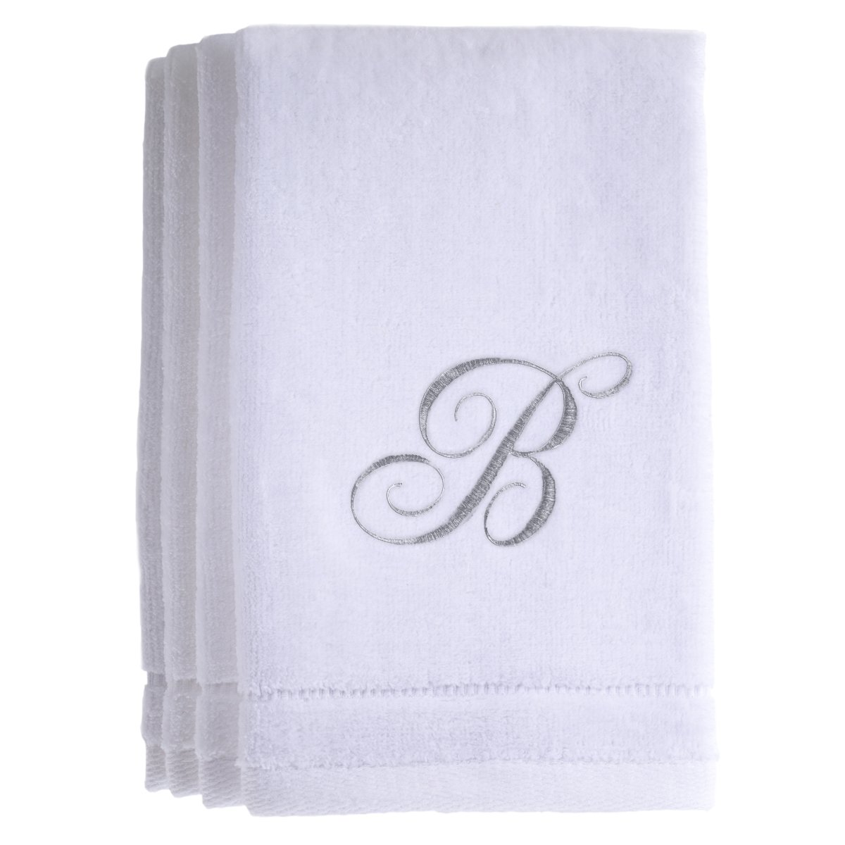 Monogrammed Towels Fingertip, Personalized Gift, 11 x 18 Inches - Set of 4- Silver Embroidered Towel - Extra Absorbent 100% Cotton- Soft Velour Finish - For Bathroom/ Kitchen/ Spa- Initial B (White)