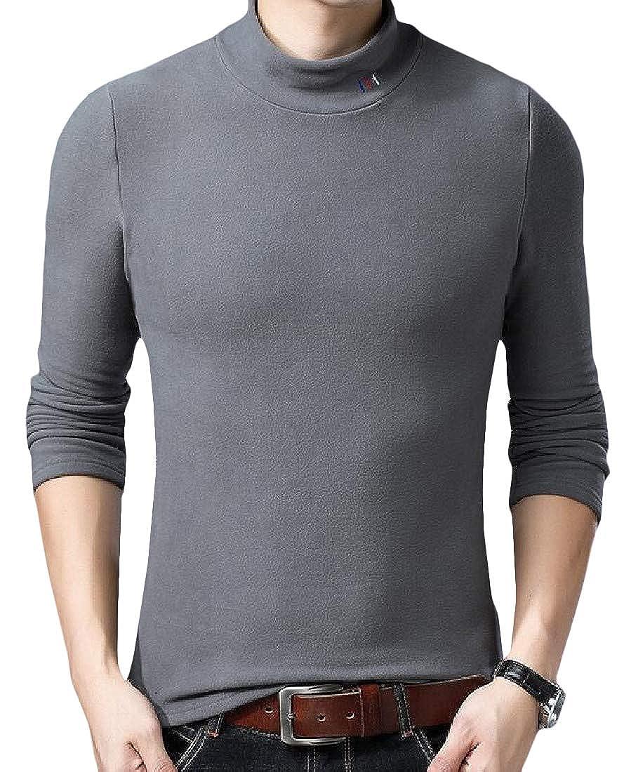 XTX Men Fleece Knitted Warm Top Turtleneck Solid Color T-Shirt