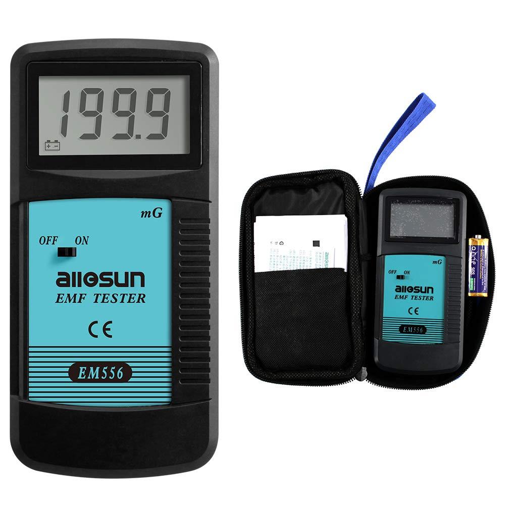 allsun Digital EMF Tester Electromagnetic Radiation Meter Electromagnetic Field Wave Detector Magnitude Detector Handheld LCD Household Dosimeter