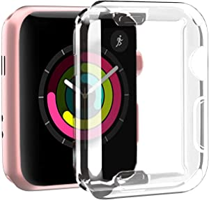 Smiling Clear Case for Apple Watch 42mm with Buit in TPU Screen Protector All-Around Protective Case High Defination Clear Ultra-Thin Cover for Apple Watch 42mm Series 3 and Series 2(2 Pack)