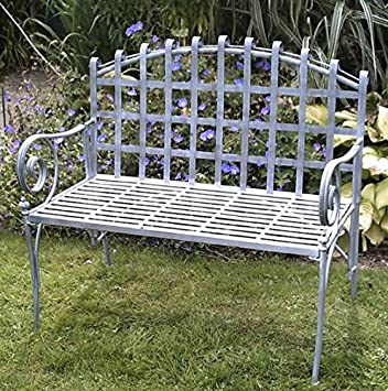 Awe Inspiring Black Country Metal Works Pastel Grey Garden Bench With Machost Co Dining Chair Design Ideas Machostcouk