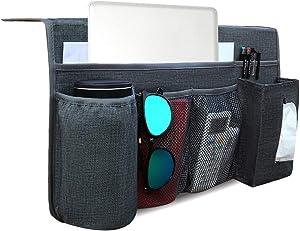Bedside Storage Organizer/Bedside Caddy,Remote Control Holder for Tablet Magazine Phone Remotes with Tissue Holder for Dorm Bed,Non-slip(Grey)