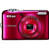 Nikon COOLPIX L32 Digital Camera 5X Wide-Angle NIKKOR Zoom Lens (Red) (Certified Refurbished)