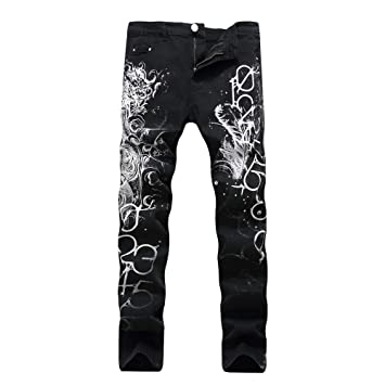 Zhangcaiyun Pantalones de Mezclilla de los Hombres ...
