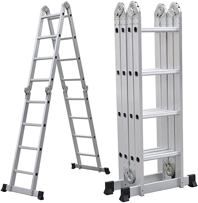Blackpoolal 4 x 4 Multiusos Escalera Telescópica de - Escalera Extensible Escalera Aluminio Escalera de Aluminio Telescópica (de aluminio 150 kg plata): Amazon.es: Bricolaje y herramientas