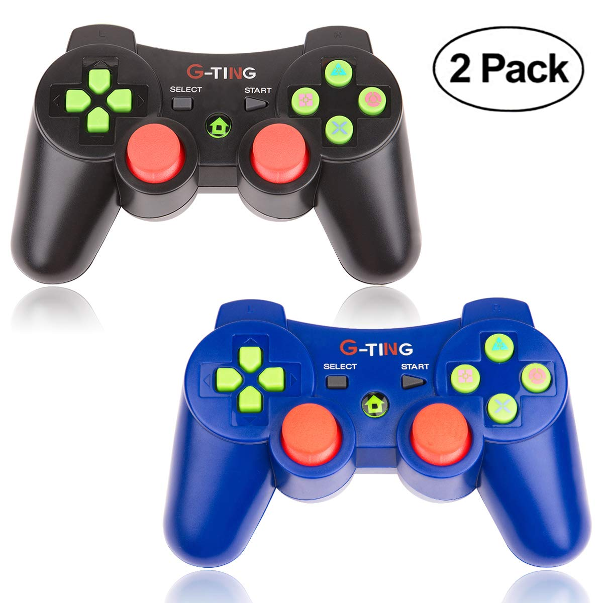 PS3 Controller Wireless 2 Pack Double Shock Gamepad for Playstation 3 Remotes, Sixaxis Wireless PS3 Controller with Charging Cable (Blue and Black)