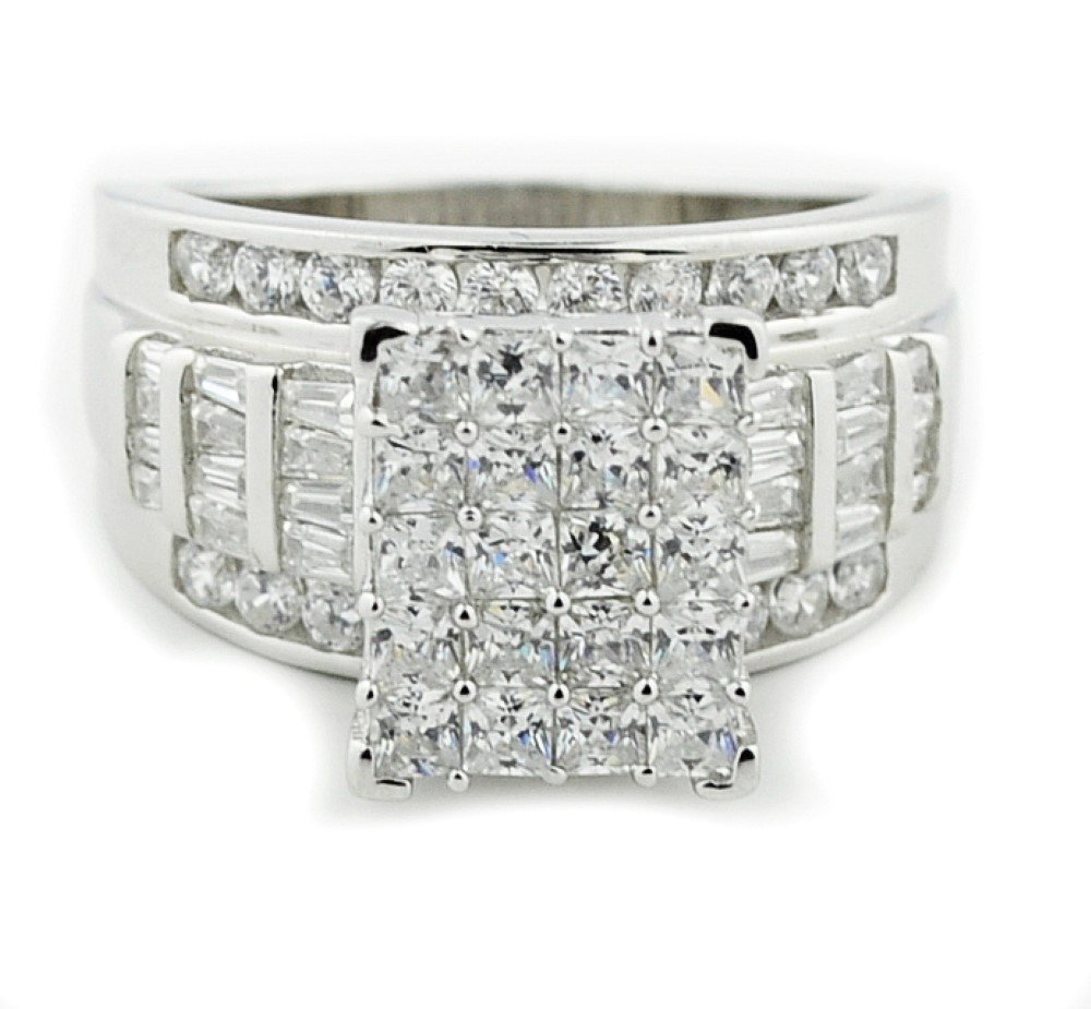 IdealCutGems-FineRing 2.5ctw 3 in 1 Style Bridal Wedding Ring 12mm Wide Round and Baguette CZ Sterling Silver (rhodium-flashed-silver, 7)