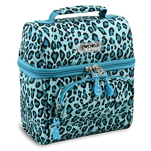 J World New York Corey Lunch Bag, MINT LEOPARD - Fully Lined Print Tote