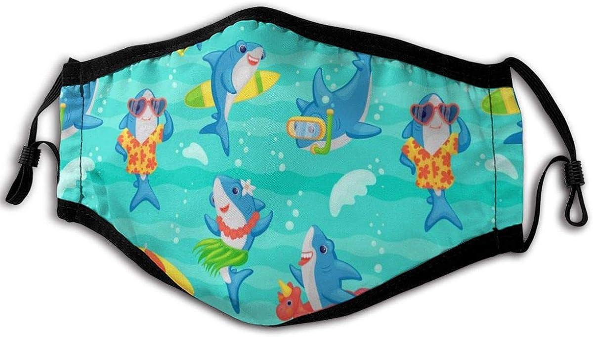 Cubierta de boca antipolvo para adultos, divertida, con diseño de tiburón y dibujos animados con bucles ajustables a prueba de viento, para mujeres y hombres