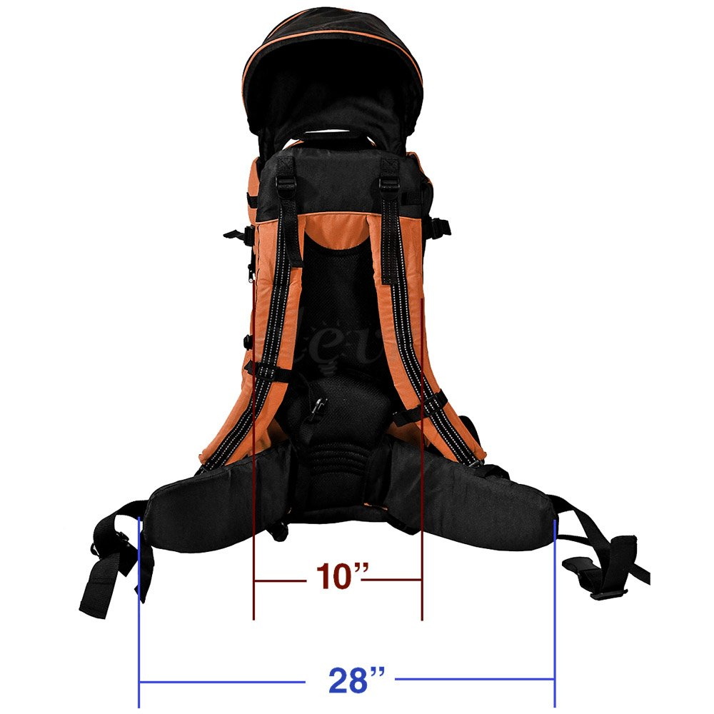 Orange 1 Year Limited Warranty Clevr Deluxe Baby Backpack Hiking Toddler Child Carrier Lightweight with Stand /& Sun Shade Visor