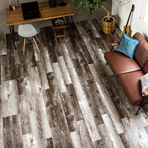 フロアタイル 貼るだけ フローリングタイル [72枚セット/No.5フェンスボードオーク] 約6畳用分 木目調 接着剤付き DIY 床材 簡単 フロアーマット