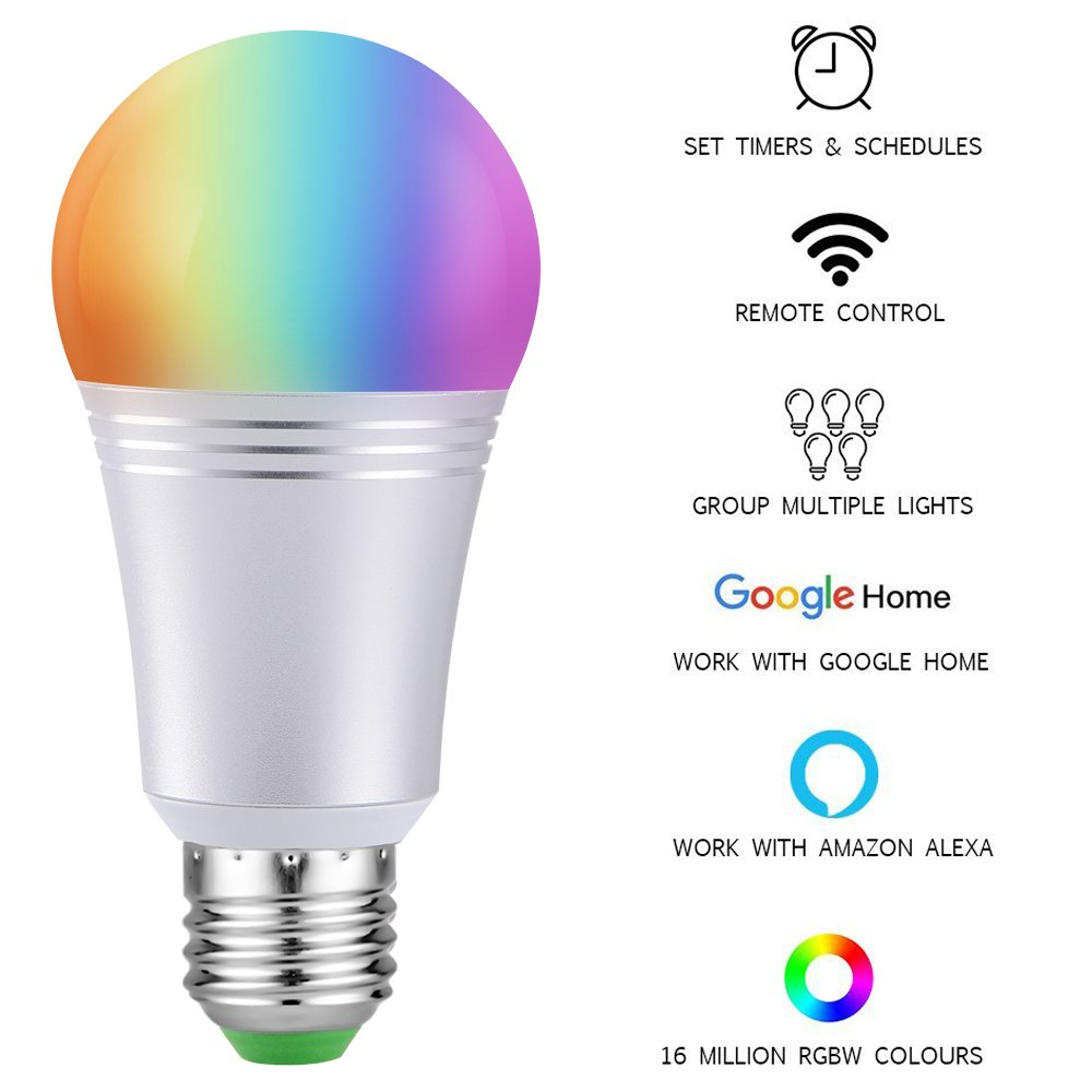Smart Led Light Bulb, WiFi Smart Bulbs 6000K Dimmable Colored Smartphone Controlled Daylight White Night Light, No Hub Required, Works with Amazon Echo Alexa Google Home E26 A19