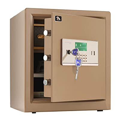 TIGERKING Digital Security Safe Box,Double Safety Key Lock and Password,Special own Interior Lock Box Safe