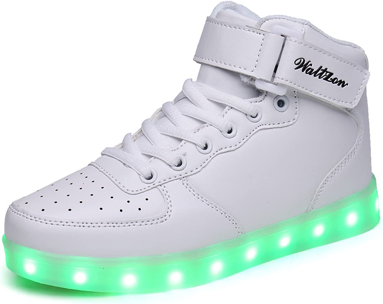 WaltZon High Top LED Shoes Light Up Shoes for Kids Boys Girls WZ6363-1White31