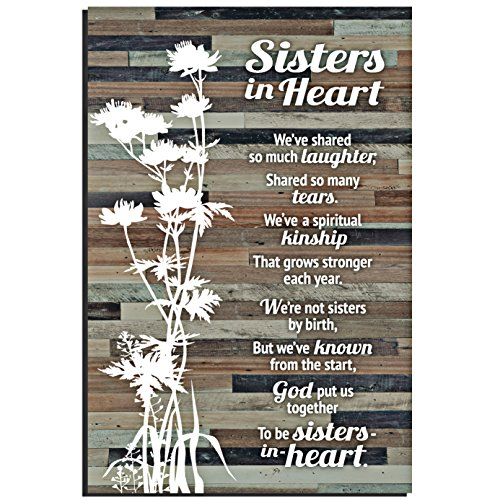 Sisters in Heart Wood Plaque with Inspiring Quotes 6x9 Inch - Classy Rustic Vertical Frame Wall and Tabletop Decoration with Easel & Hanging Hook |