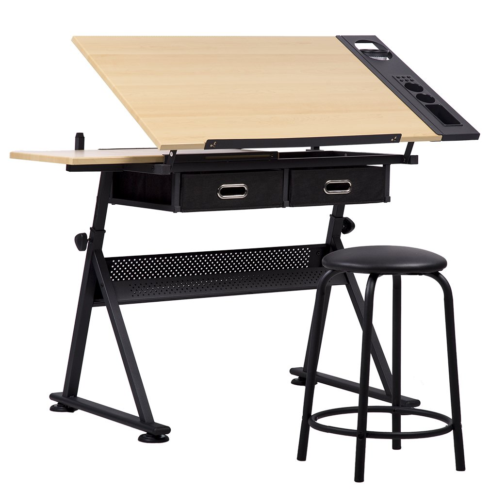 Office Drawing Desk Station Adjustable Drafting Table Set W/ Stool Chair