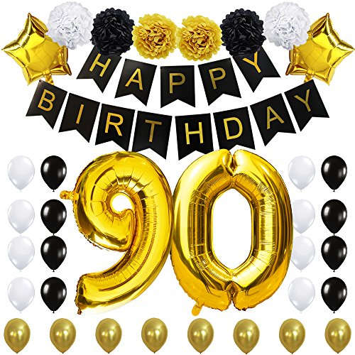 "90TH Birthday Party Decorations Kit- ""Happy Birthday"" Black Banner,40inches Gold Foil ""90"" Balloon, Paper Flower,Star and Latex Balloon,Classy Party Supplies for Ninety by KUNGYO]()"