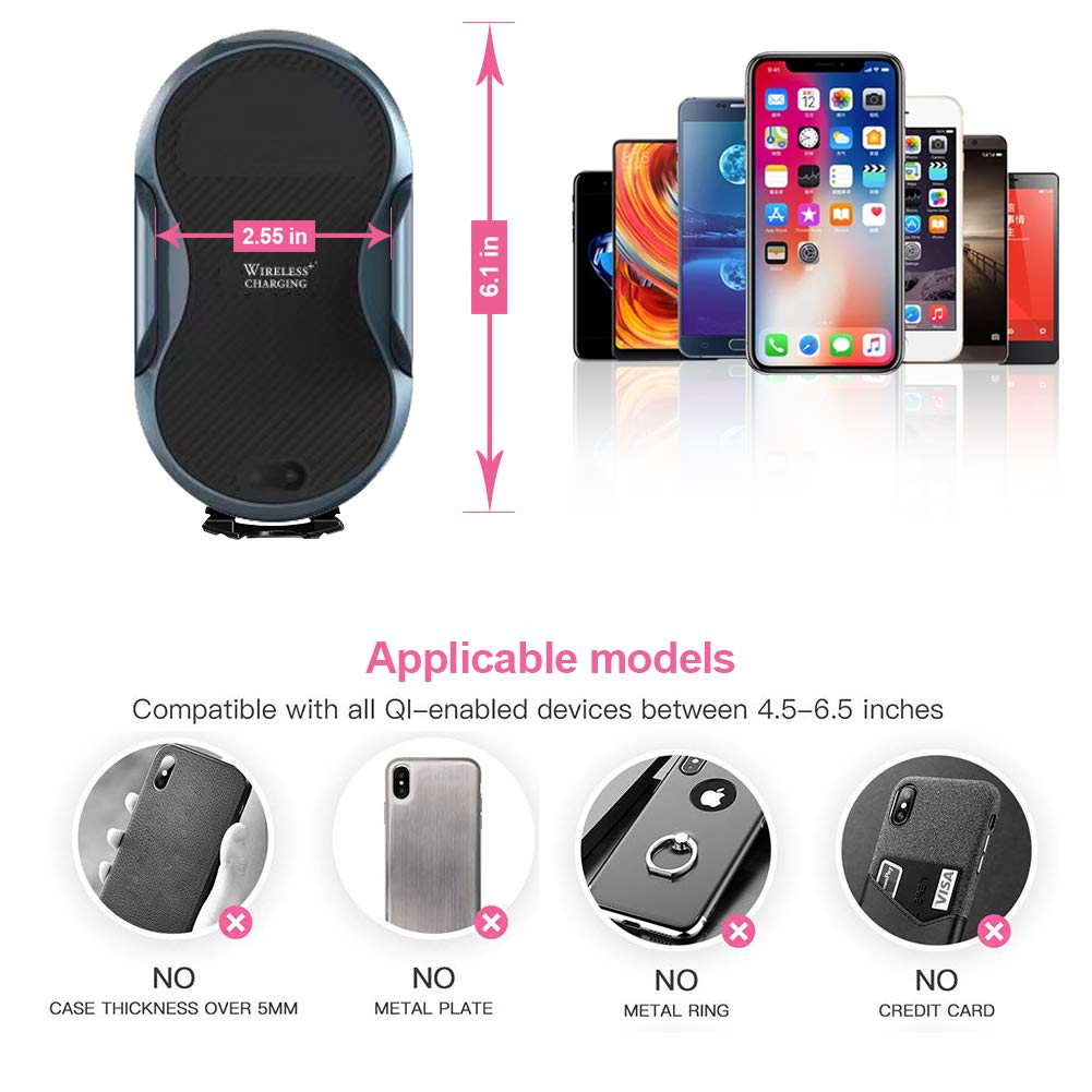 TIMESS Fast Wireless Car Charger Mount,Auto Clamping 7.5W //10W Windshield Dashboard Air Vent Phone Holder,Compatible for iPhone Xs//XR//X //8 Samsung Galaxy S9 S9 Plus S8 Plus Note 8 5 /& Qi Enabled Devi