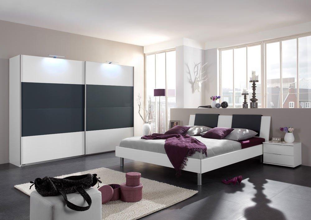 Schlafzimmer 3-tlg. in alpinweiß mit Abs. in anthrazit, 2-trg ...