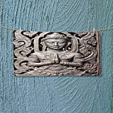 Super Absorbent Towel Collection Antique Buddha in Traditional Thai Art with Swirling Floral Patterns Carving Japanese Ideal for Everyday use L39.4 x W9.8 inch
