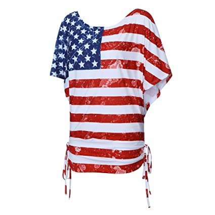 dfab184738b Amazon.com   Fiaya 4th Of July Women Clothes Blouse Plus Size Short Sleeve  American Flag Loose T-Shirt Tank Top (Red A03