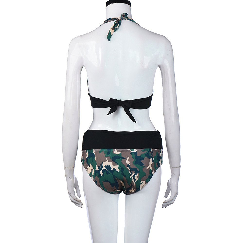 cb679907f5f4e Amazon.com: Camouflage Halter Bikini Strappy Deep V Swimsuit Bathing Suit  Lace up Top Push up Padded Bra+Panties Set: Clothing
