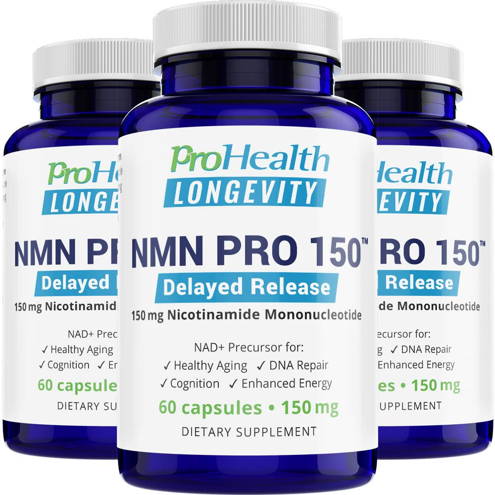 ProHealth NMN Pro Delayed Release 3-Pack (150 mg, 60 Capsules Each) Nicotinamide Mononucleotide | NAD+ Precursor | Supports Anti-Aging, Longevity and Energy | Non-GMO