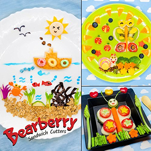 Bearberry Sandwich Cutters, Bread Crust & Cookie Stamp Set - Fun Heart, Dinosaur, Food Shapes for Kids Bento Lunch Box, Boys and Girls - GET FREE Mini Stainless Steel Vegetable & Fruit Press! by Bearberry (Image #7)