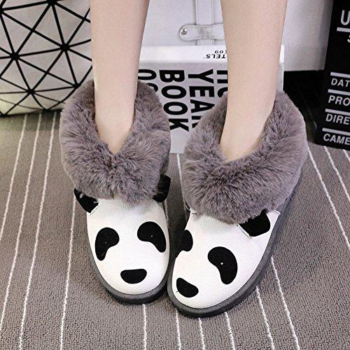 Show Shine Damesmode Faux Fur Flats Laarzen Enkellaarzen Snowboots Grijs