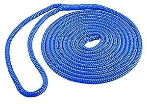 Shoreline Marine Cuerda para amarrar al Muelle de Nailon y de Doble Trenza Azul 1/2 Pulgada x 15 pies